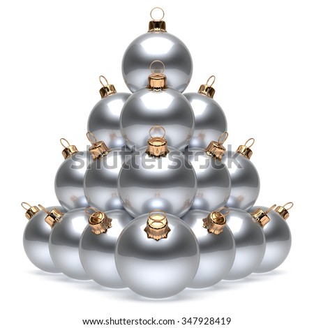 Christmas balls pyramid New Year's Eve white silver baubles group adornment decoration glossy spheres ornament. Happy Merry Xmas traditional wintertime holidays celebrate greeting card. 3d render - stock photo