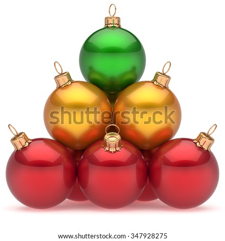 Christmas balls pyramid top green leader first place winner New Year's Eve baubles group decoration multicolored. Leadership hierarchy success Happy Merry Xmas wintertime business concept. 3d render - stock photo