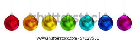 Christmas balls set. Isolated on white background. - stock photo