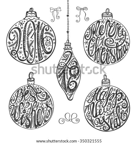 Christmas balls shapes with lettering.New year 2016.Card elements set. Handwriting title ,decoration,bow.Vintage isolated  decor on white background.Best wishes. - stock photo