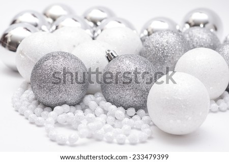 christmas balls, silver and white - stock photo