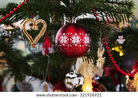 Christmas balls, traditional decorations for Christmas tree, white-red combination, Czech republic - stock photo