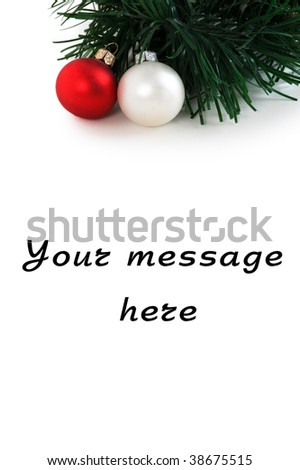 Christmas balls with a decorative fur-tree. Isolated over white background