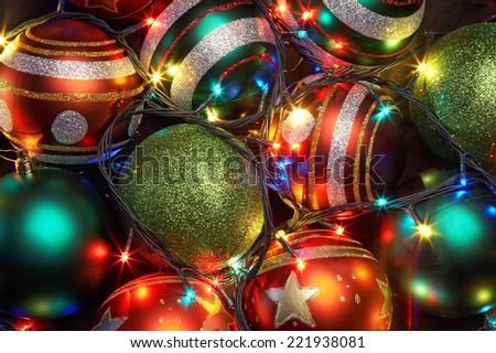 christmas balls with a shone garland - stock photo