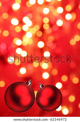 Christmas balls with blur background - stock photo