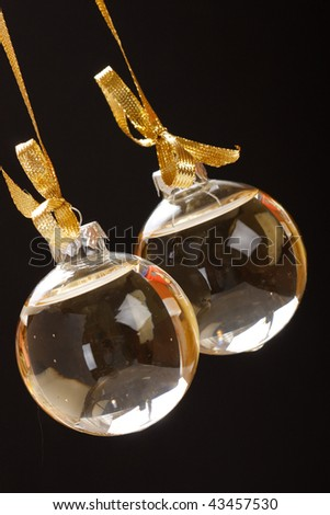 Christmas balls with champagne