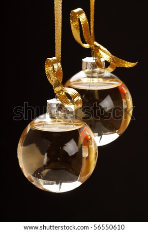 Christmas balls with champagne - stock photo