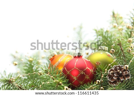 Christmas balls with fir branch,Isolated on white. - stock photo