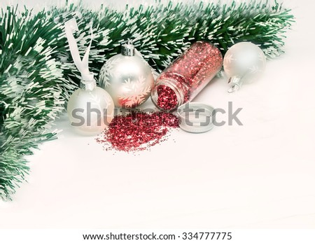 Christmas balls with red and green ornaments - stock photo