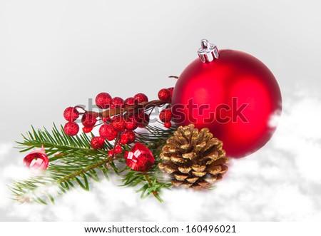 Christmas balls with snow, christmas background. Christmas concept  - stock photo