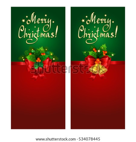 Christmas banner set with red bow, fir branches, Christmas bells and holly berries