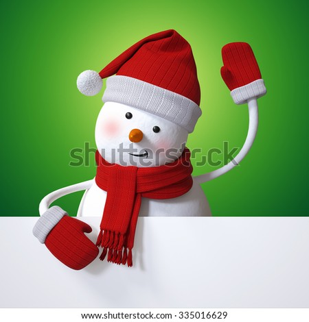 Christmas banner, snowman waving hand, holiday background, 3d cartoon character illustration - stock photo