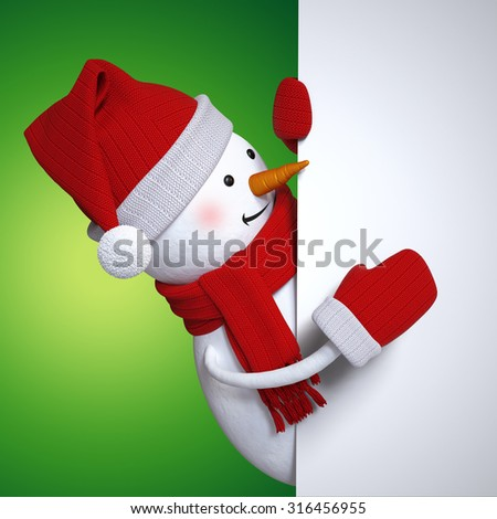 Christmas banner with snowman, holiday background, 3d cartoon character illustration