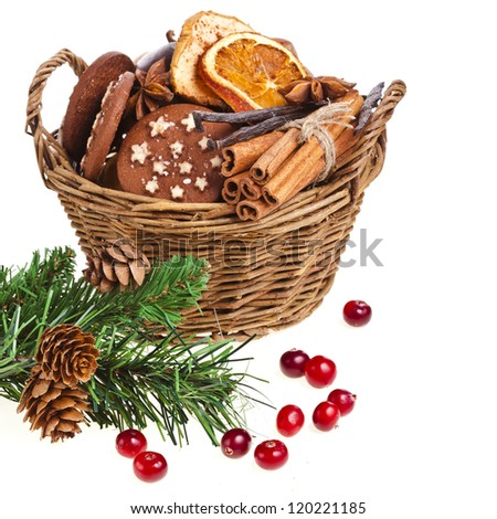 christmas basket full  cookie isolated on a white background - stock photo