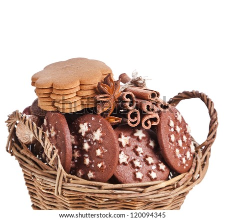 christmas basket full  cookie on a white background - stock photo