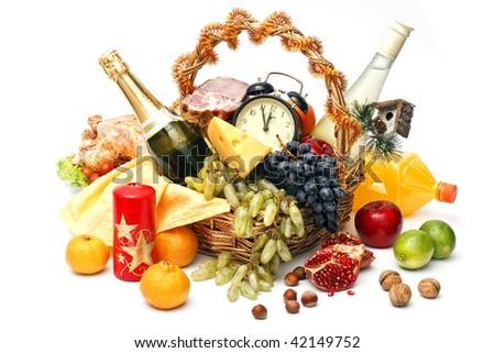 christmas basket of goods on white background - stock photo