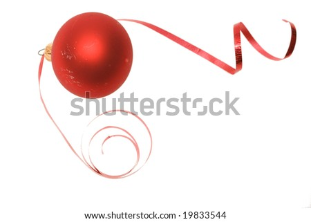 Christmas bauble and dancing ribbon isolated on white