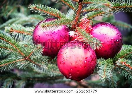 christmas bauble - christmas decoration - closeup - stock photo