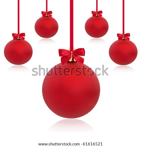 Christmas bauble decorations in red with ribbons and bows in abstract design, isolated over white background.