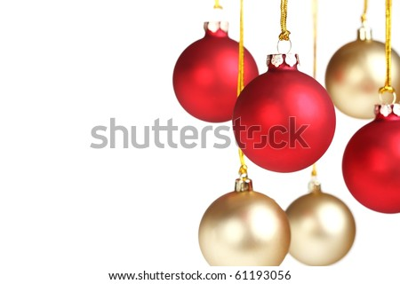 Christmas bauble hanging over white,Shallow Dof. - stock photo