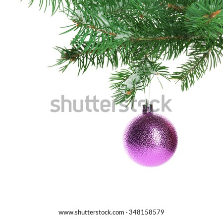 Christmas bauble on a fir branch, isolated on white