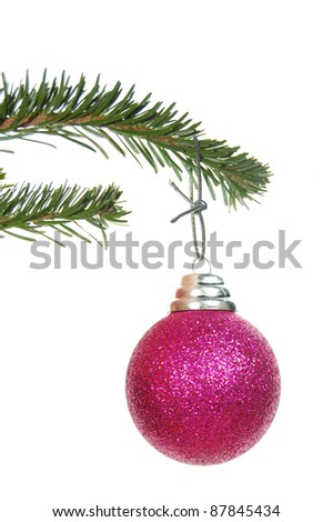 Christmas bauble on a tree - stock photo