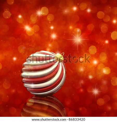 Christmas bauble on glittery red background - stock photo
