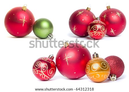 Christmas Bauble Still Lives over white - stock photo