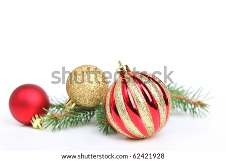 Christmas bauble with fir branch,Isolated on white background. - stock photo