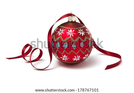 Christmas Bauble with red ribbon