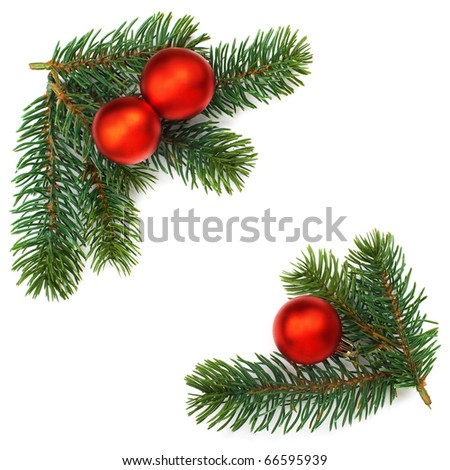 Christmas baubles and pine branches background, isolated. - stock photo