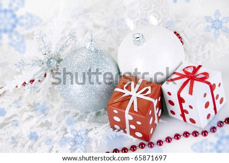 Christmas baubles and presents