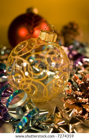 Christmas baubles arranged for Christmas card or background decoration design elements.