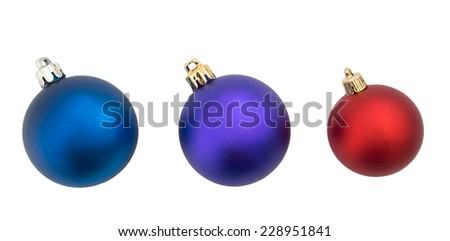 Christmas baubles, balls, isolated on white. Blue purple red.