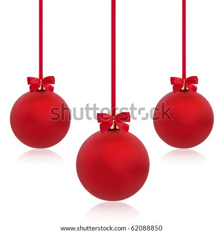 Christmas baubles in red with ribbons and bows in abstract design, isolated over white background.