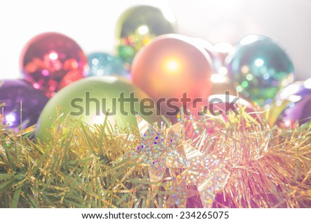 Christmas baubles in the background with backlight - stock photo