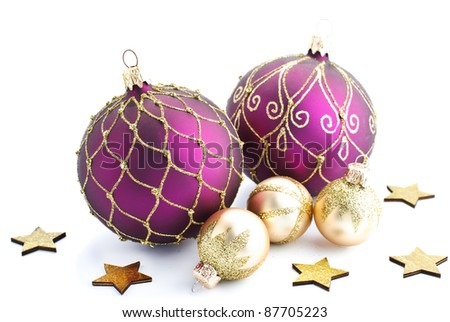 Christmas baubles isolated against a white background - stock photo