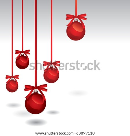 Christmas Baubles Isolated Over White With Space For Text