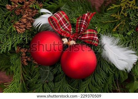 Christmas baubles on a christmas tree, horizontal - stock photo