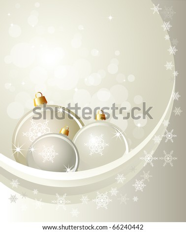 Christmas baubles on abstract background with snowflakes. Space for your text. Also available in vector format.