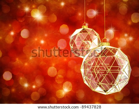 Christmas baubles on glittery red background , happy holidays - stock photo
