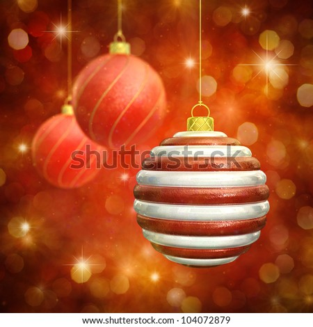 Christmas baubles on red sparkly background - stock photo