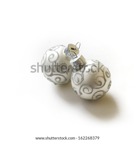 Christmas baubles on white background  - stock photo