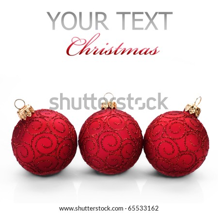 Christmas Baubles over white - stock photo
