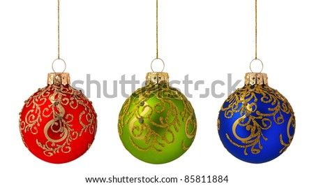 Christmas baubles - red, green, blue - isolated on white background