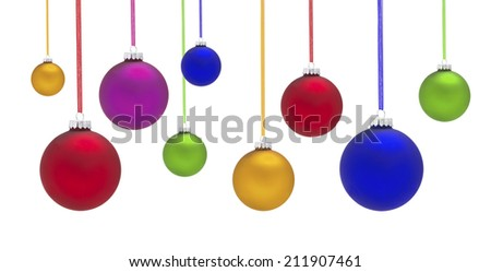 Christmas Baubles with a white background - stock photo