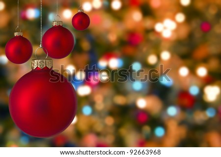 Christmas baubles with blurred  light  background - stock photo