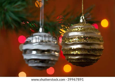 christmas baubles with colorful background - stock photo