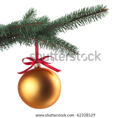 Christmas baubles with curly ribbon on christmas tree isolated on white