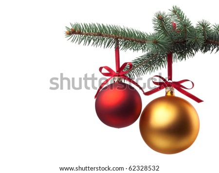 Christmas baubles with curly ribbon on christmas tree isolated on white - stock photo